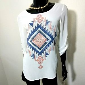 DNA Couture Long Sleeve Blouse Size Small